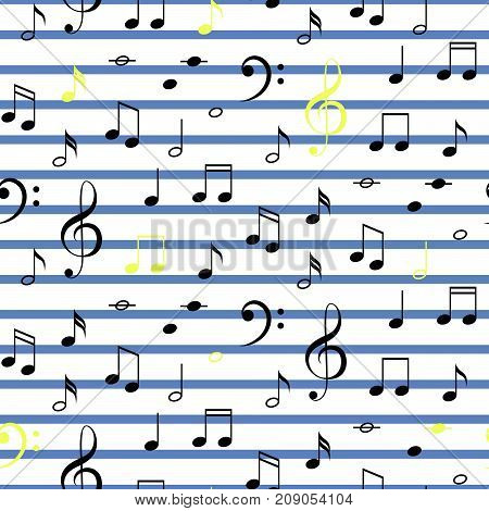 Musical notes seamless vector stripe pattern. Blue and white notes on line background.