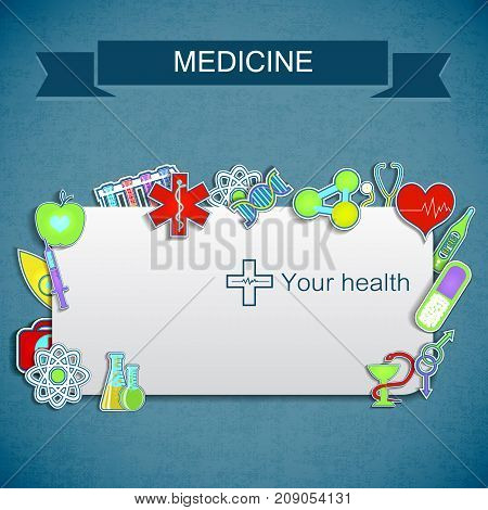 Medical care background with text field and colorful fluorescent instruments and symbols flat vector illustration