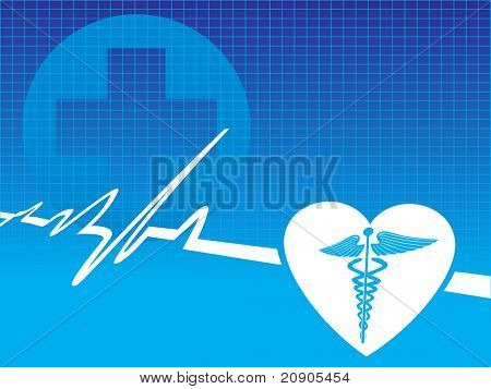 caduceus medical symbol with pulse vector illustration