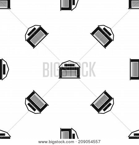 Industrial building pattern repeat seamless in black color for any design. Vector geometric illustration
