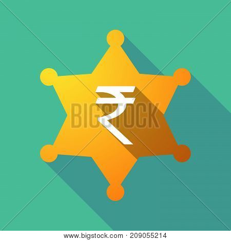 Long Shadow Sheriff Star With A Rupee Sign