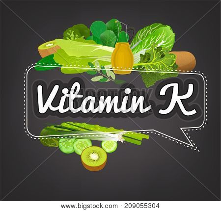 Vitamin K banner. Beautiful vector illustration with caption lettering and top foods highest in vitamin K. Useful for leaflet, brochure or poster design as a header or other graphic element.