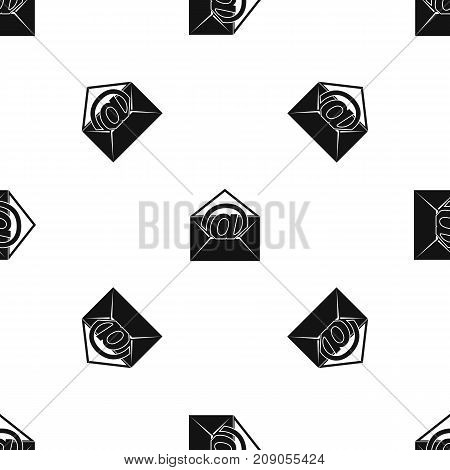 Envelope with email sign pattern repeat seamless in black color for any design. Vector geometric illustration