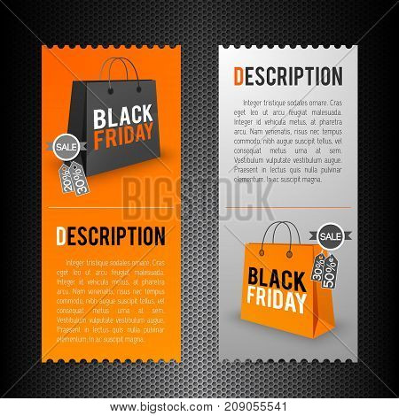 Flat vertical orange and grey banners set with black friday description isolated vector illustration