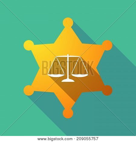 Long Shadow Sheriff Star With A Justice Weight Scale Sign
