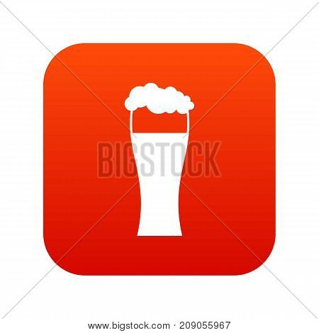 Glass of beer icon digital red for any design isolated on white vector illustration