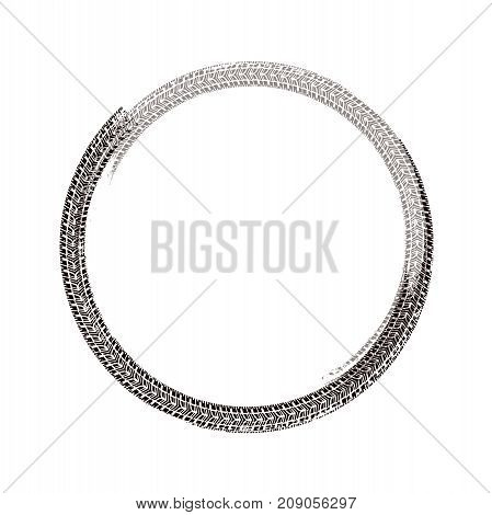 Tire track circle grunge frame. Vector background element useful for poster, print, flyer, booklet, brochure and leaflet design. Editable graphic image in brown color isolated on white background.