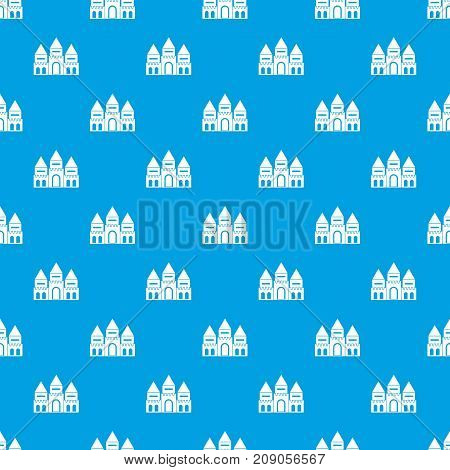 Children house castle pattern repeat seamless in blue color for any design. Vector geometric illustration