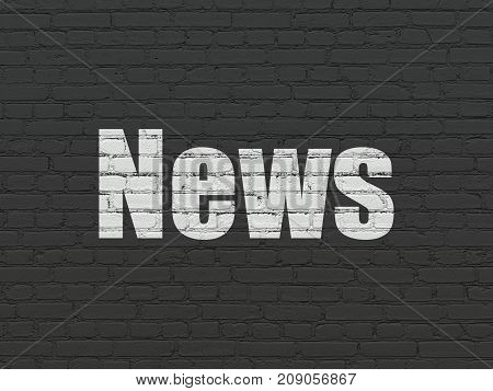 News concept: Painted white text News on Black Brick wall background