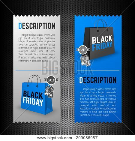 Vertical flat black friday banners with descriptions and shopping bags isolated on dark background vector illustration