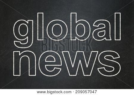 News concept: text Global News on Black chalkboard background