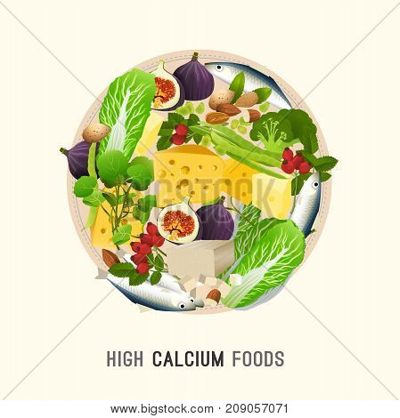 Calcium in food. Beautiful vector illustration in modern style isolated on a light background. Nutritional and dietary concept. Top 10 foods highest in Ca