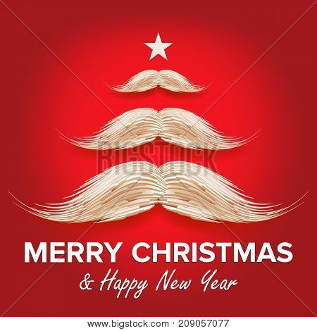 White Santa s Mustache In Form Of Christmas Tree. Merry Christmas And Happy New Year Card Design. Vector