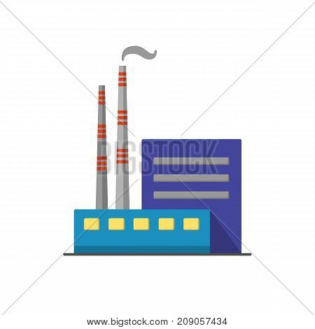 Coal power plant icon in flat style. Non-renewable energy industrial concept. Fossil fuel energy symbol isolated on white background.