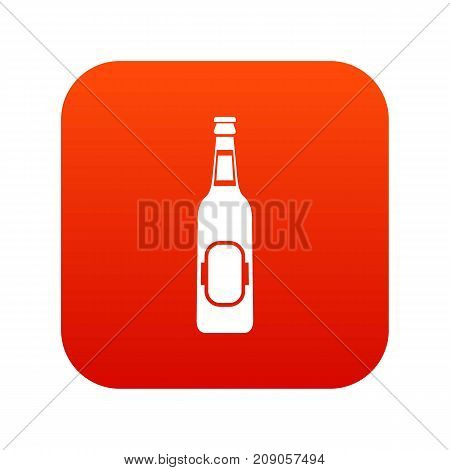 Bottle of beer icon digital red for any design isolated on white vector illustration
