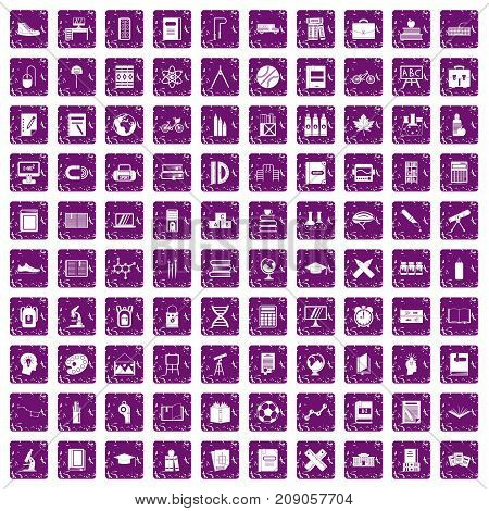 100 school icons set in grunge style purple color isolated on white background vector illustration
