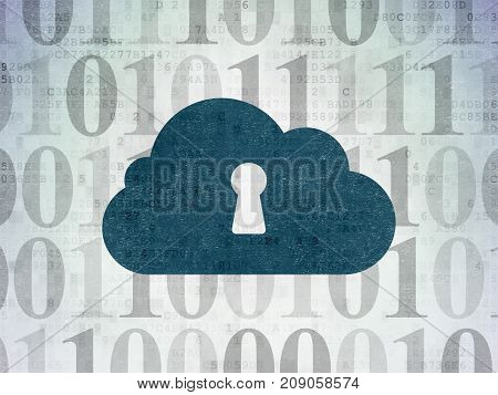 Cloud technology concept: Painted blue Cloud With Keyhole icon on Digital Data Paper background with  Binary Code