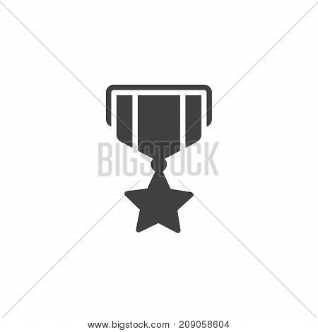 Military reward medal icon vector, filled flat sign, solid pictogram isolated on white. Symbol, logo illustration.