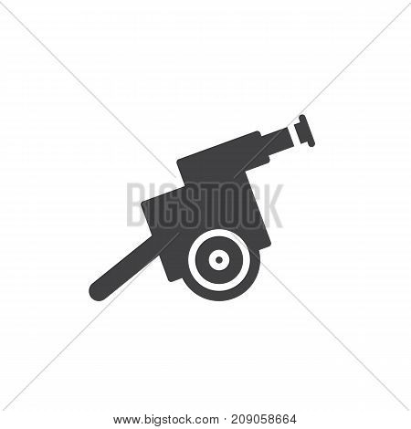 Cannon icon vector, filled flat sign, solid pictogram isolated on white. Gun, artillery symbol, logo illustration.