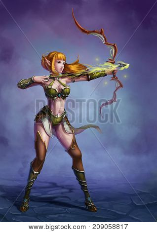 The Archer in the Medieval Fantasy World. Video Game's Digital CG Artwork, Colorful Concept Illustration, Realistic Cartoon Style Background