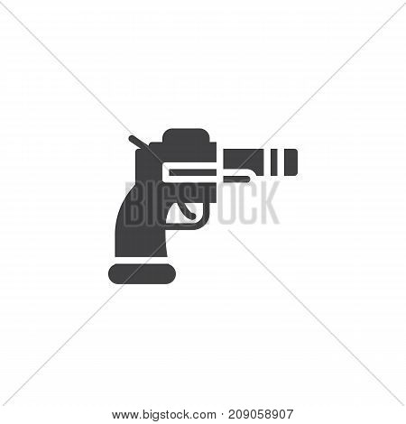 Revolver icon vector, filled flat sign, solid pictogram isolated on white. Pistol gun symbol, logo illustration.