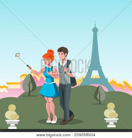 Young couple taking selfie in Paris. Vector illustration