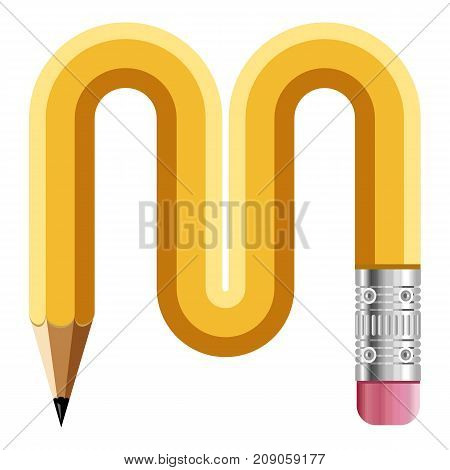 Letter m pencil icon. Cartoon illustration of letter m pencil vector icon for web