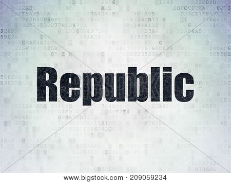 Political concept: Painted black word Republic on Digital Data Paper background