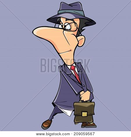 cartoon funny man in suit and hat with briefcase in hand