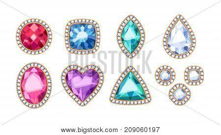 Colorful gemstones jewels in diamond rim vector illustration.