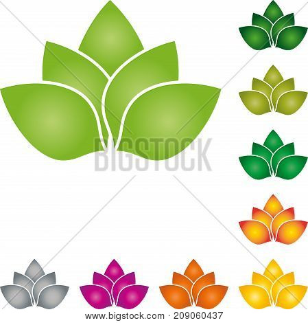 Leaves, plant in color, nature and wellness logo