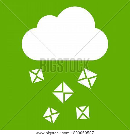 Cloud and hail icon white isolated on green background. Vector illustration