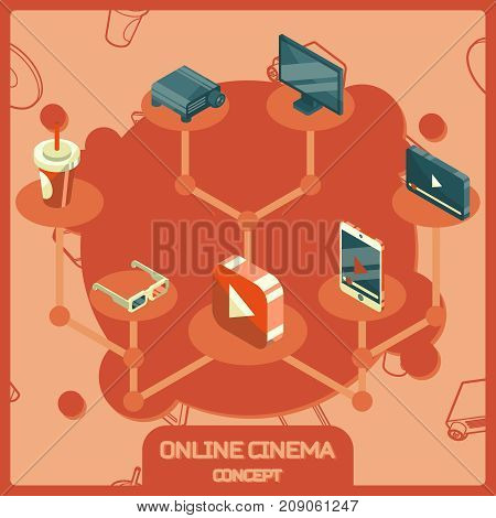 Online cinema color isometric concept icons. Vector illustration, EPS 10