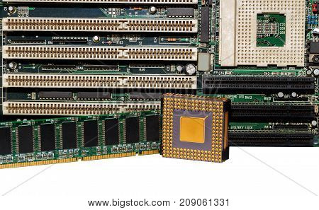Motherboard with RAM and processor isolated on white background