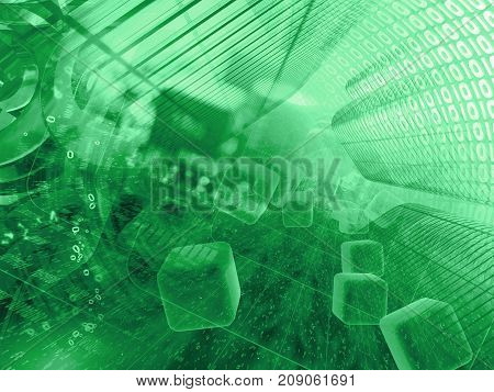 Abstract computer background in greens - digits in the tunnel.