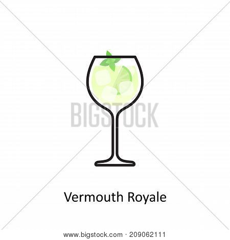 Vermouth Royale alcohol cocktail icon. Vector illustration