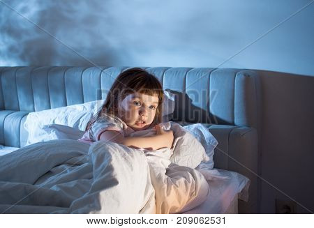 The Girl Feels The Fear While Lying In Bed