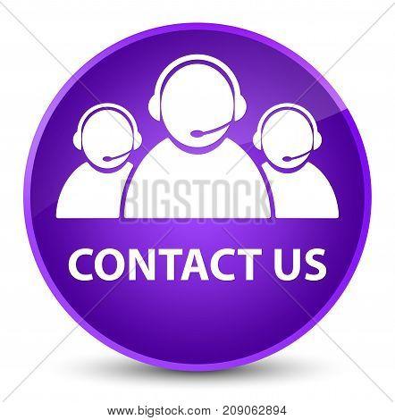 Contact Us (customer Care Team Icon) Elegant Purple Round Button