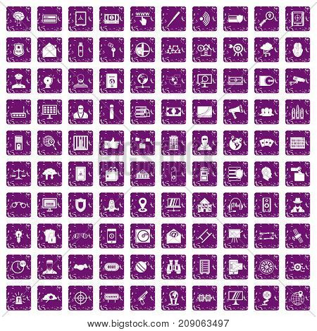 100 security icons set in grunge style purple color isolated on white background vector illustration