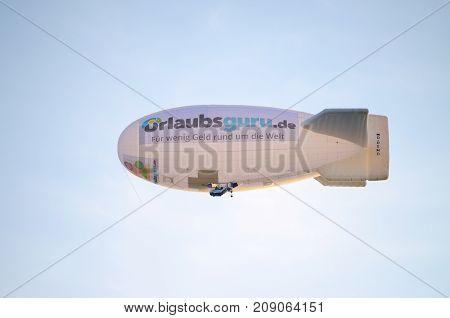 Dusseldorf, Germany - august 13, 2017 zeppelin in the sky nrw