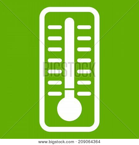 Cold thermometer icon white isolated on green background. Vector illustration