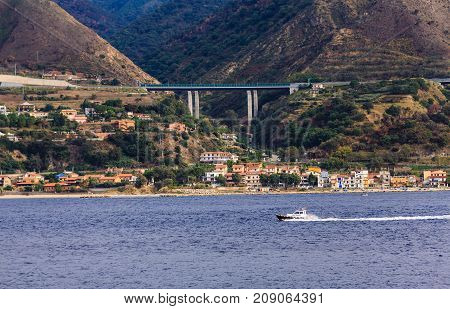 A Pilot Boat Along the Shore of Italy in the Strait of Messina