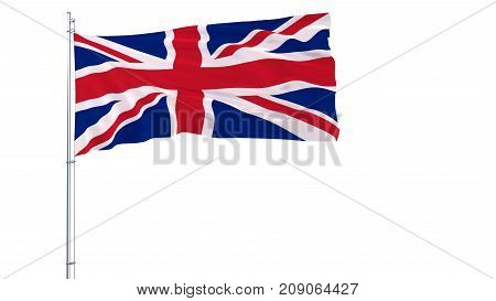 Flag of United Kingdom on a flagpole fluttering in the wind on white background 3d rendering