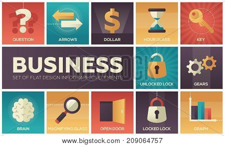 Business - set of flat design infographics elements. Metaphorical square icons. Question, arrows, dollar, hourglass, key, unlocked and locked lock, gears, brain, magnifying glass, open door, graph