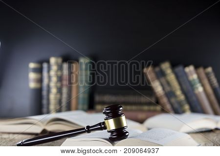 Judge concept. Mallet of the judge. Books.