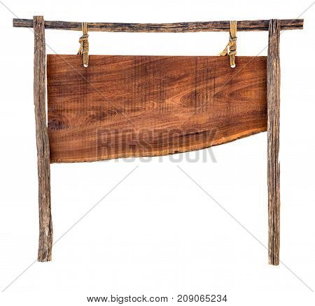 Empty Wooden Sign On A Rope