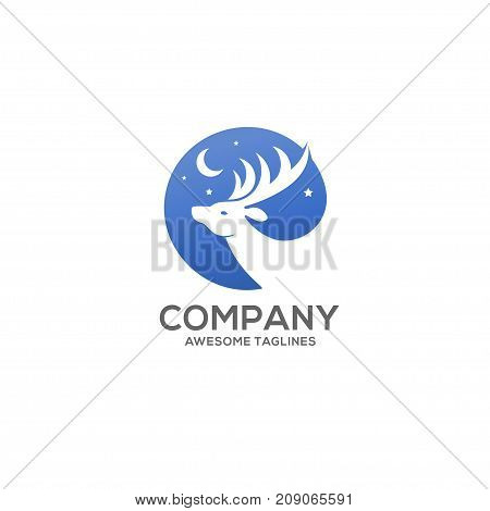 deer, moon and star in the blue sky circle concept, deer head logo circle, white deer logo concept