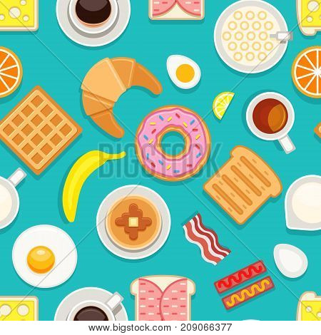 Breakfast seamless texture. Different meals and drinks colored on blue background. Vector cartoon style illustration breakfast food, coffee drink and dessert cake