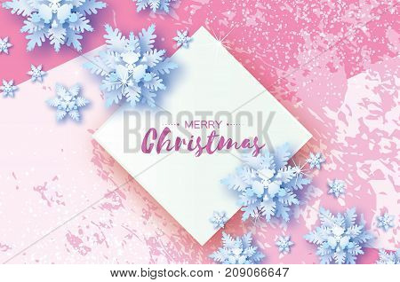 White Origami Snowfall. Merry Christmas Greetings card. White Paper cut snow flake. Happy New Year. Winter snowflakes. Rhombus frame. Space for text. Holidays. Pink background. Vector illustration.