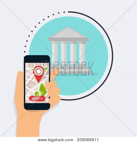 Hand holding mobile smart phone with app bank search. Vector modern flat creative info graphics design on search atm application.